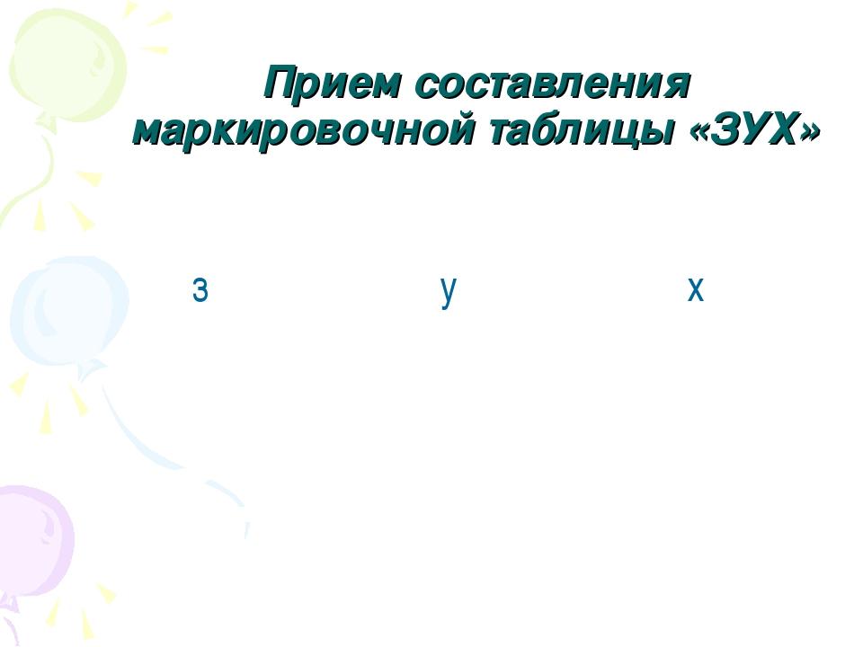 Прием составления маркировочной таблицы «ЗУХ» зух