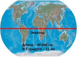 Экватор Длина – 40 000 км В 1 градусе – 11 км