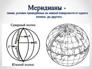 Меридианы - линии, условно проведённые на земной поверхности от одного полюса