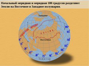 Начальный меридиан и меридиан 180 градусов разделяют Землю на Восточное и Зап