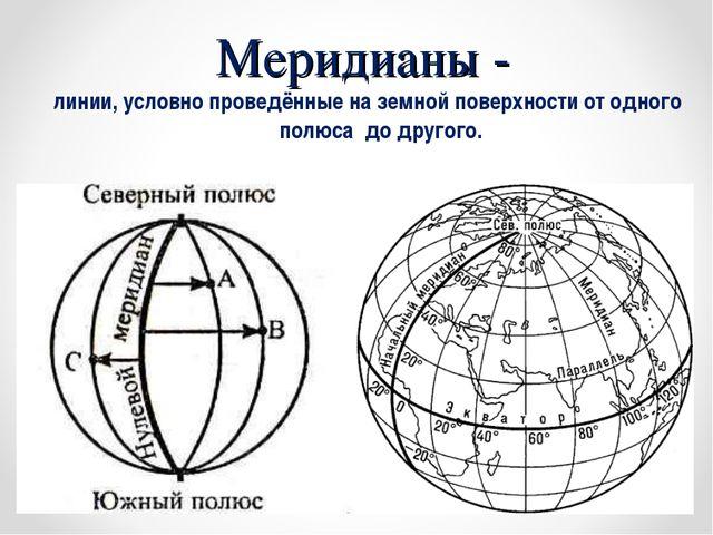 Меридианы - линии, условно проведённые на земной поверхности от одного полюса...