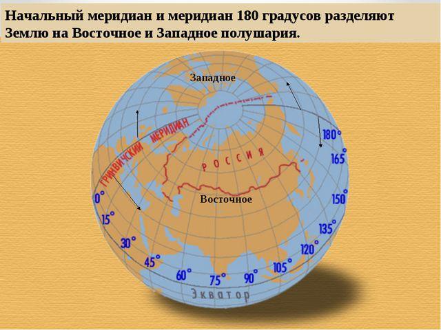 Начальный меридиан и меридиан 180 градусов разделяют Землю на Восточное и Зап...