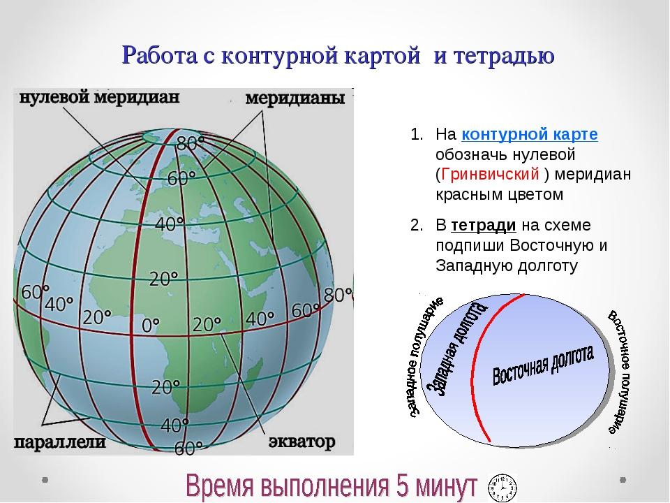 Работа с контурной картой и тетрадью На контурной карте обозначь нулевой (Гри...