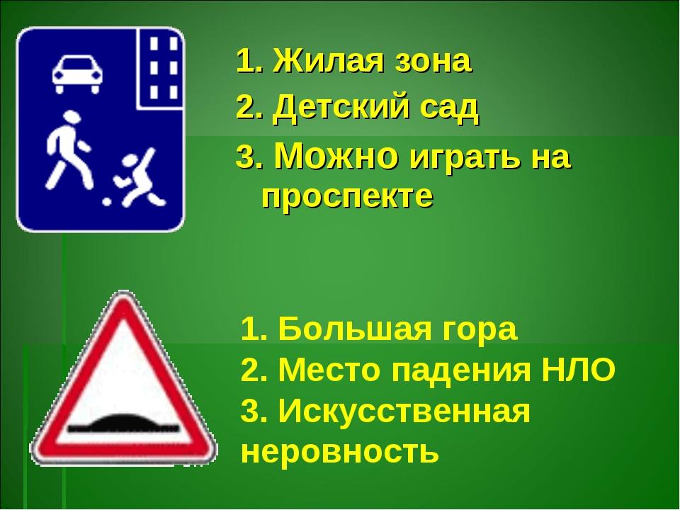 1. Жилая зона 2. Детский сад 3. Можно играть на проспекте 1. Большая гора 2....