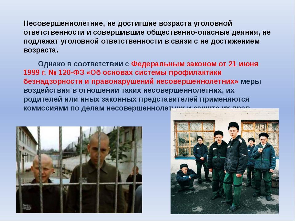 Несовершеннолетние, не достигшие возраста уголовной ответственности и соверш...