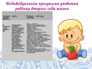Индивидуальная программа развития ребёнка второго года жизни Направления рабо