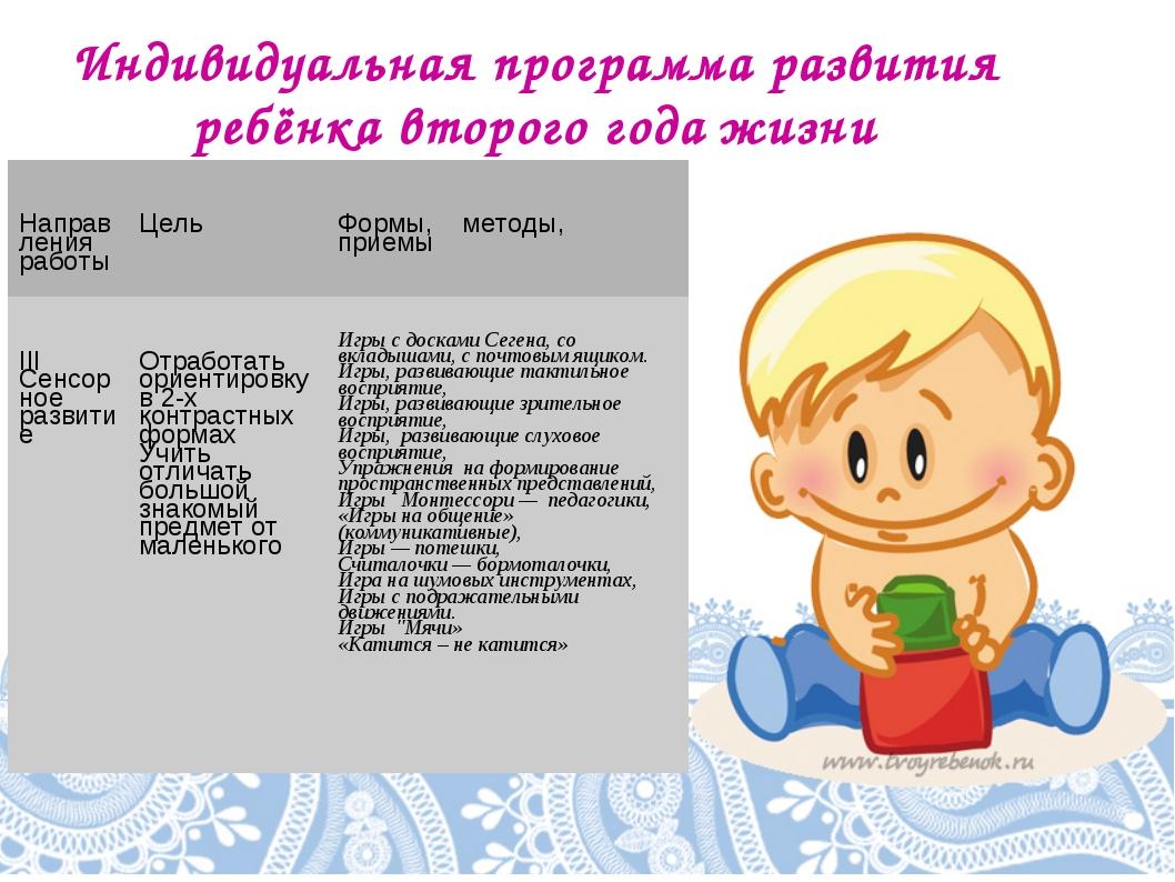 Индивидуальная программа развития ребёнка второго года жизни Направления рабо...