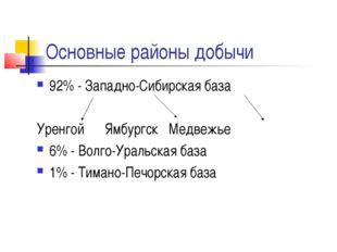 Основные районы добычи 92% - Западно-Сибирская база Уренгой Ямбургск Медвежье