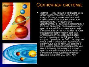 Солнечная система: Земля — наш космический дом. Она летит в пространстве, об