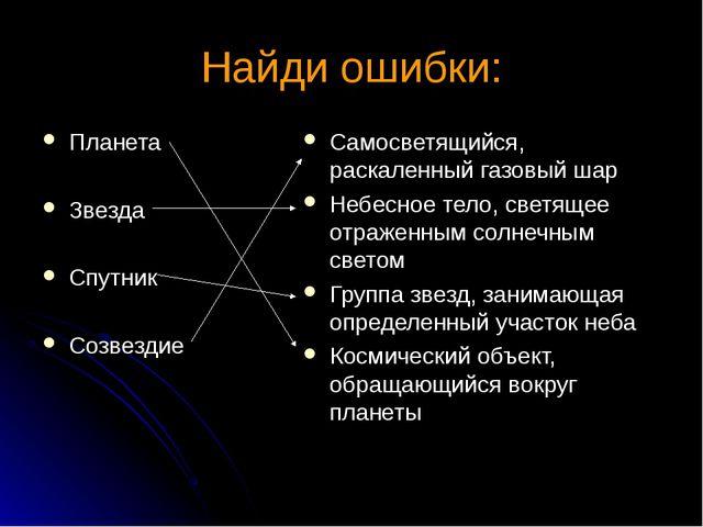 Найди ошибки: Планета Звезда Спутник Созвездие Самосветящийся, раскаленный га...