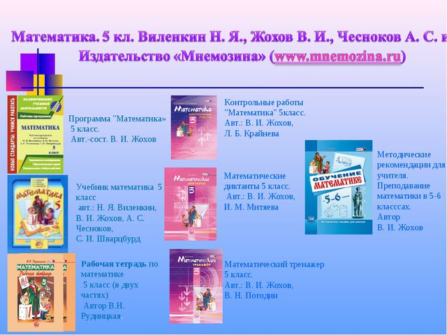Учебник математика 5 класс авт.: Н. Я. Виленкин, В.И. Жохов, А.С. Чесноков,...