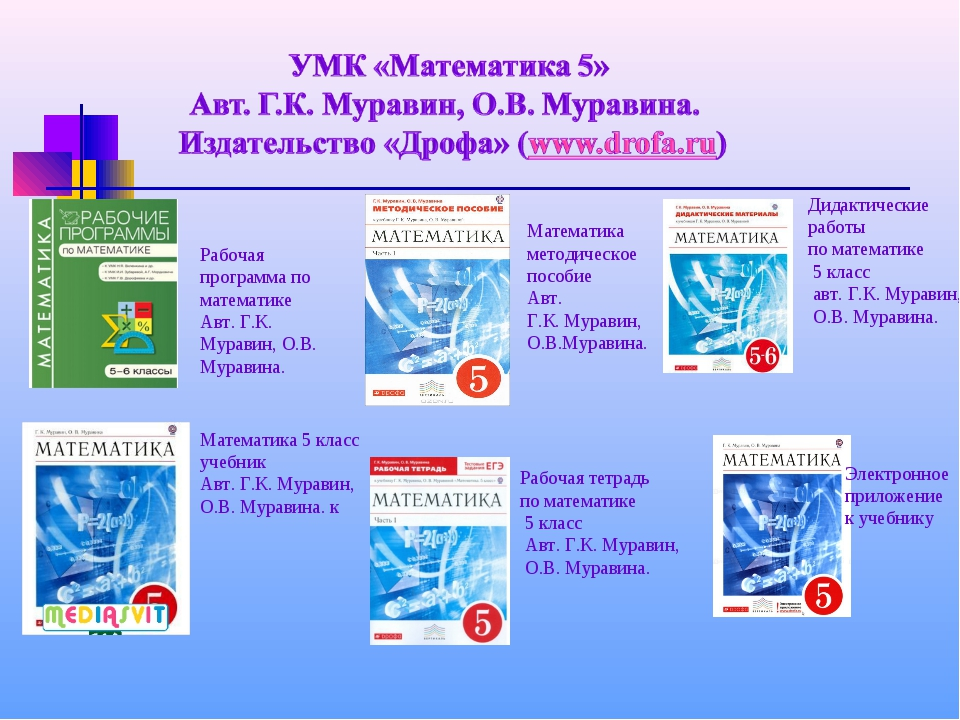 Рабочая программа по математике Авт. Г.К. Муравин, О.В. Муравина. Математика...