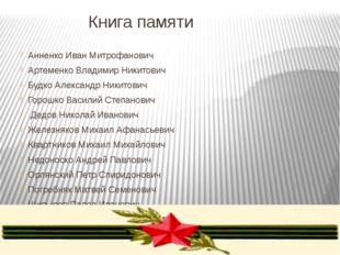 Книга памяти Анненко Иван Митрофанович Артеменко Владимир Никитович Будко Але