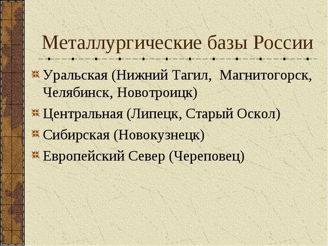 Металлургические базы России Уральская (Нижний Тагил, Магнитогорск, Челябинск...