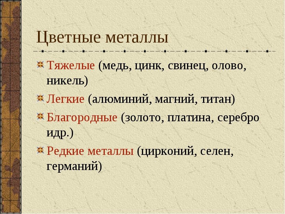 Цветные металлы Тяжелые (медь, цинк, свинец, олово, никель) Легкие (алюминий,...