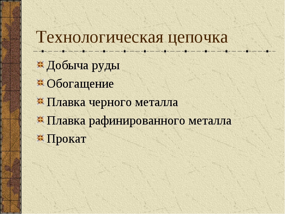 Технологическая цепочка Добыча руды Обогащение Плавка черного металла Плавка...