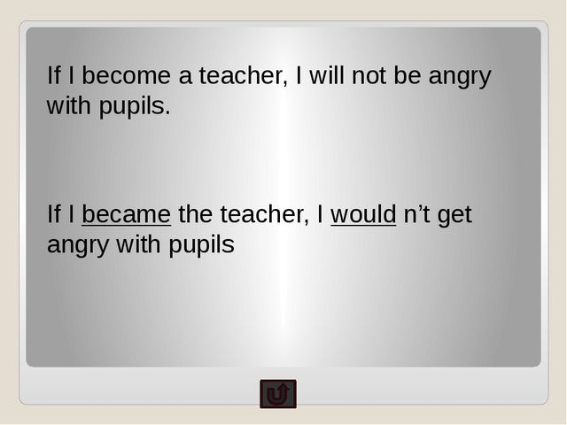 If I become a teacher, I will not be angry with pupils. If I became the teach...