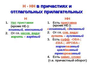 Н - НН в причастиях и отглагольных прилагательных ННН Нет приставки (кроме