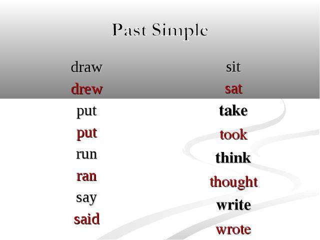 draw drew put put run ran say said sit sat take took think thought write wrote