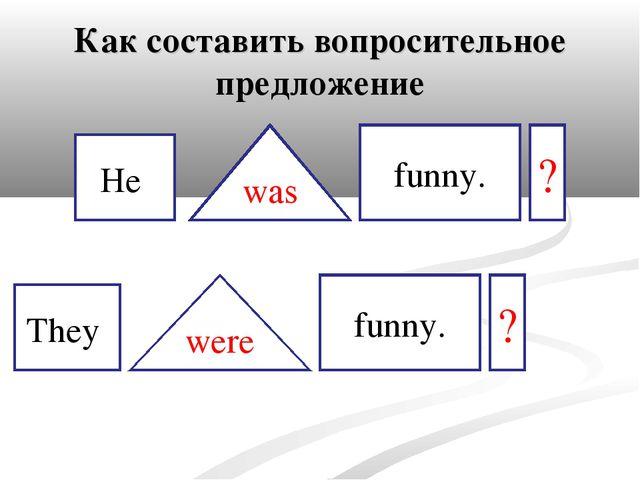 Как составить вопросительное предложение He They was were funny. funny. ? ?
