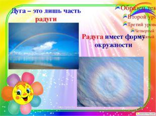Дуга – это лишь часть радуги Радуга имеет форму окружности http://percha-shod