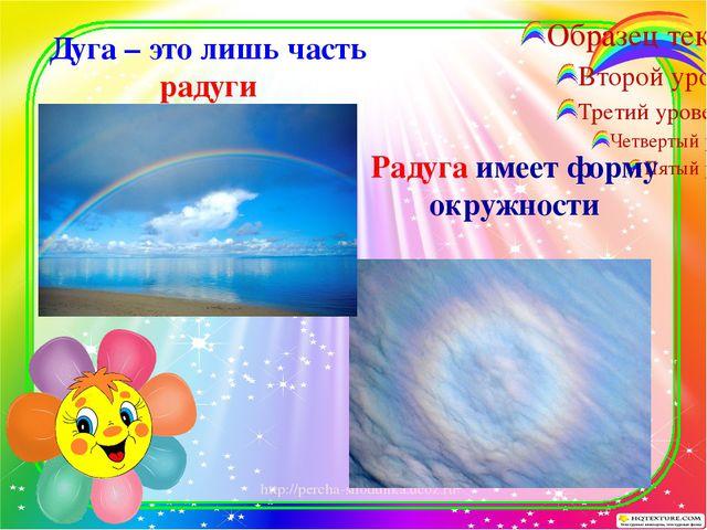 Дуга – это лишь часть радуги Радуга имеет форму окружности http://percha-shod...