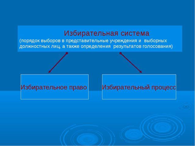 Избирательная система (порядок выборов в представительные учреждения и выбор...