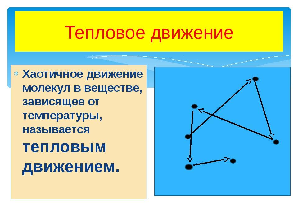 Тепловое движение Хаотичное движение молекул в веществе, зависящее от темпера...
