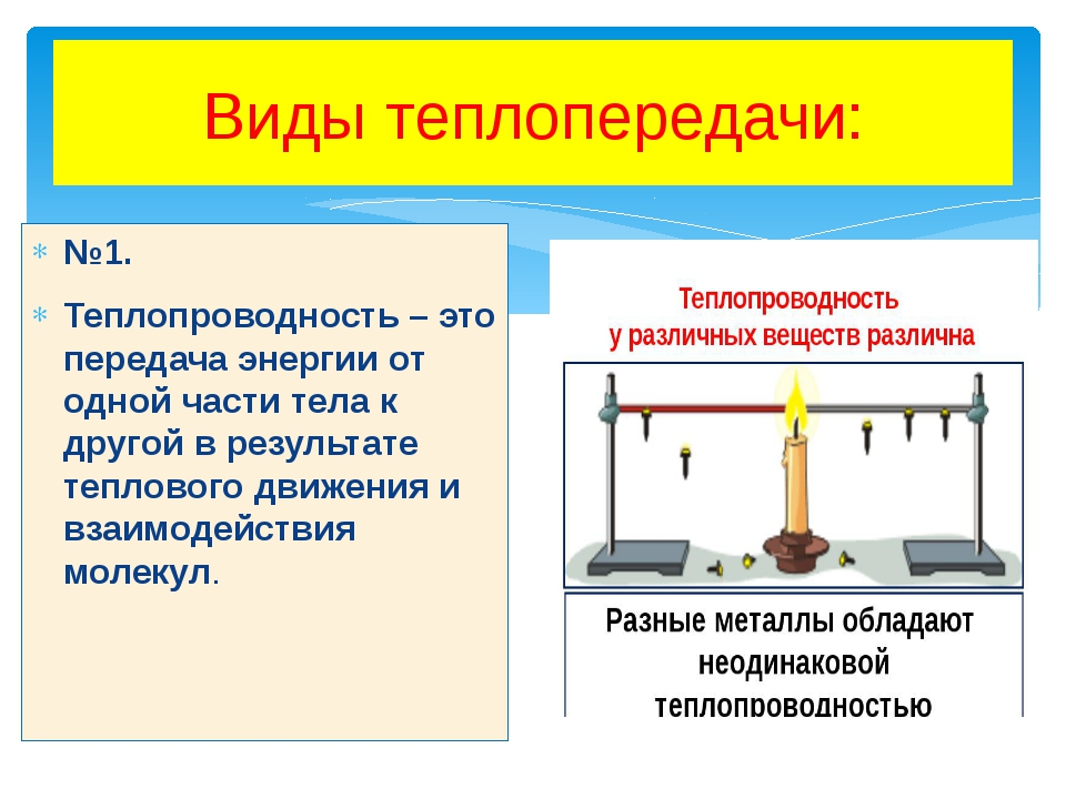 Виды теплопередачи: №1. Теплопроводность – это передача энергии от одной част...