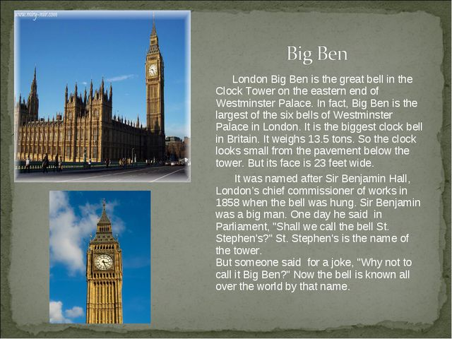 London Big Ben is the great bell in the Clock Tower on the eastern end of We...