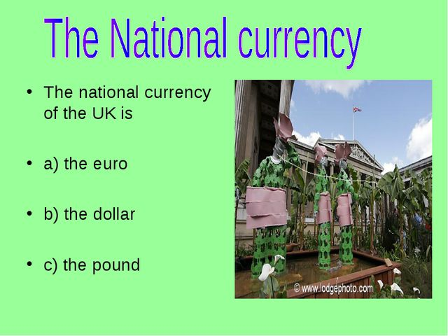 The national currency of the UK is