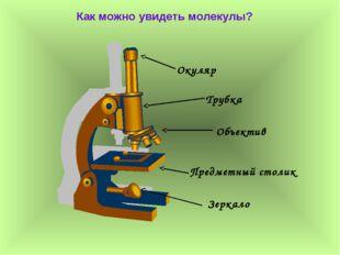 Как можно увидеть молекулы? Окуляр Трубка Объектив Предметный столик Зеркало