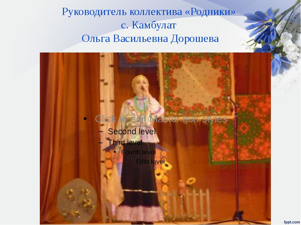 Руководитель коллектива «Родники» с. Камбулат Ольга Васильевна Дорошева