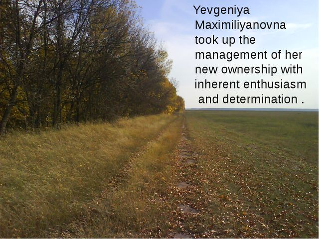 Yevgeniya Maximiliyanovna took up the management of her new ownership with i...