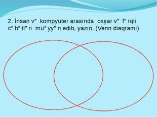 2. İnsan və kompyuter arasında oxşar və fərqli cəhətləri müəyyən edib, yazın.