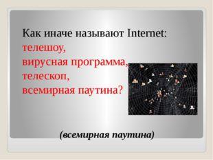 (всемирная паутина) Как иначе называют Internet: телешоу, вирусная программа