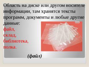 Область на диске или другом носителе информации, там хранятся тексты програм