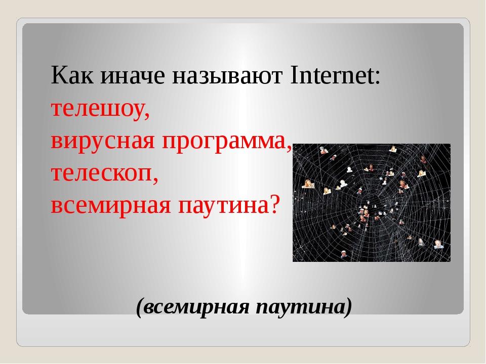 (всемирная паутина) Как иначе называют Internet: телешоу, вирусная программа...