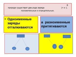 В природе существует два рода заряда (+ и -), положительные и отрицательные.