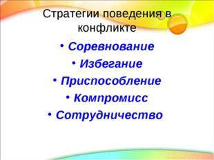 Стратегии поведения в конфликте Соревнование Избегание Приспособление Компром