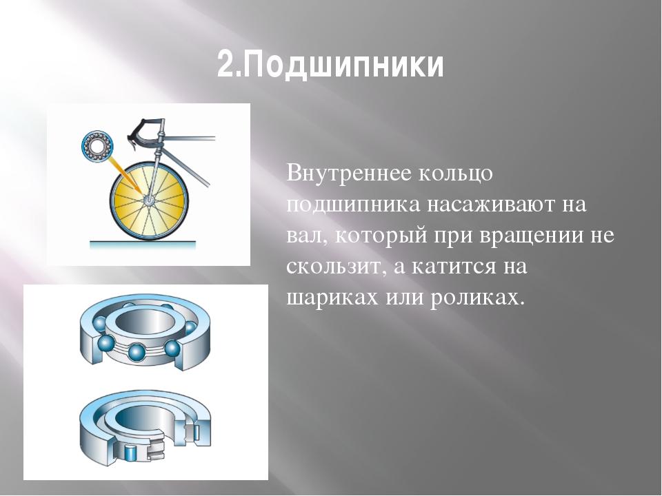 2.Подшипники Внутреннее кольцо подшипника насаживают на вал, который при вращ...