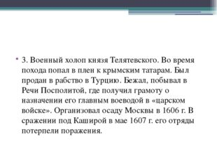 3. Военный холоп князя Телятевского. Во время похода попал в плен к крымским