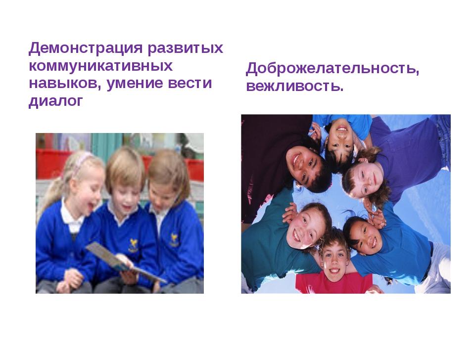 Демонстрация развитых коммуникативных навыков, умение вести диалог Доброжелат...