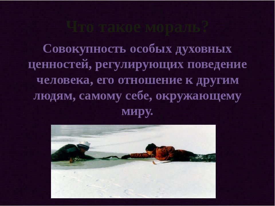 Что такое мораль? Совокупность особых духовных ценностей, регулирующих поведе...