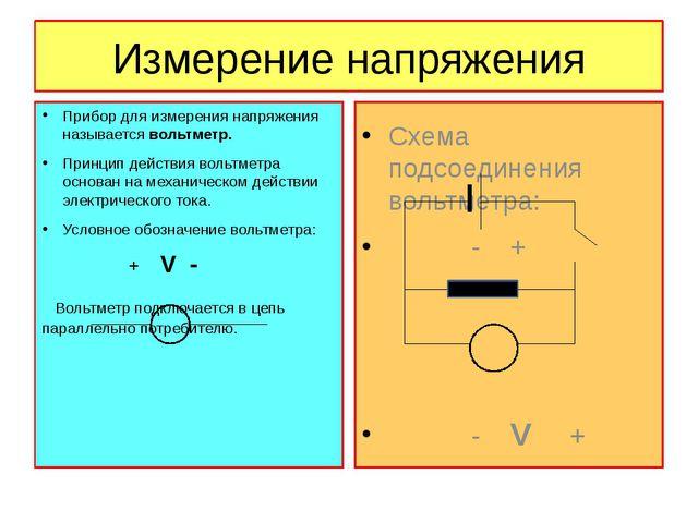 Измерение напряжения Прибор для измерения напряжения называется вольтметр. Пр...