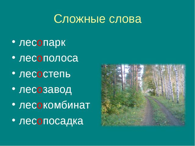Сложные слова лесопарк лесополоса лесостепь лесозавод лесокомбинат лесопосадка