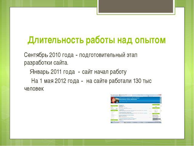 Длительность работы над опытом Сентябрь 2010 года - подготовительный этап раз...