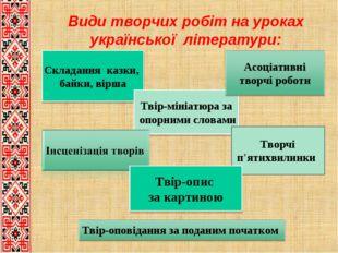 Види творчих робіт на уроках української літератури: Складання казки, байки,