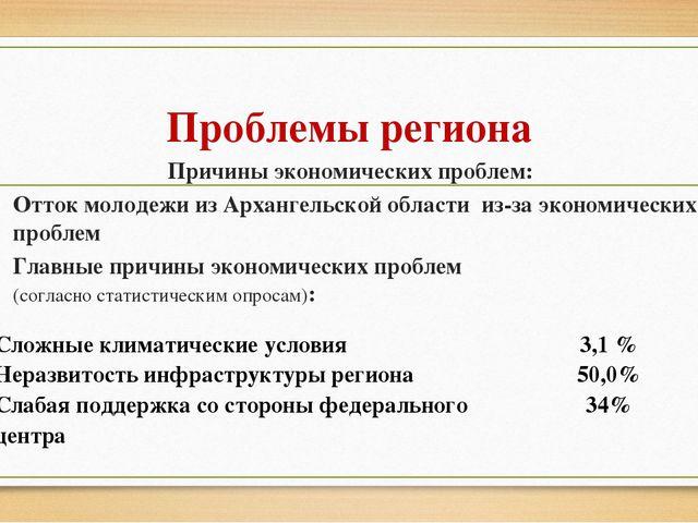 Проблемы региона Причины экономических проблем: Отток молодежи из Архангельск...