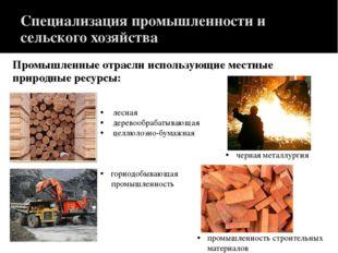 Специализация промышленности и сельского хозяйства Промышленные отрасли испол